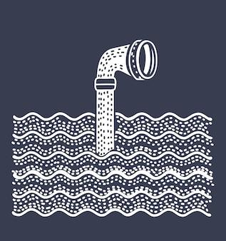 Periscopio de metal sobre el agua. sobre fondo blanco