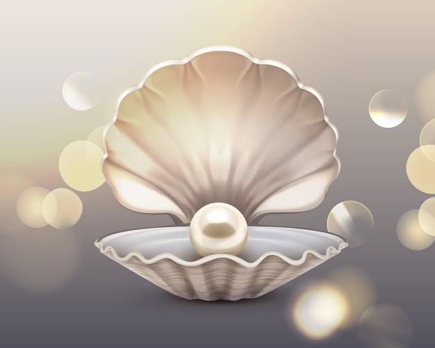 Perla beige brillante en concha sobre fondo de brillo brillante