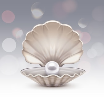 Perla blanca en concha con destellos. concha con brillo sobre fondo gris degradado