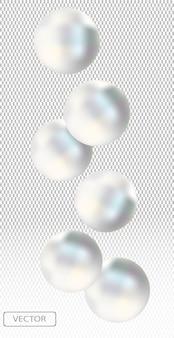 Perlas de mar blancas brillantes. hermosas joyas para mujeres.