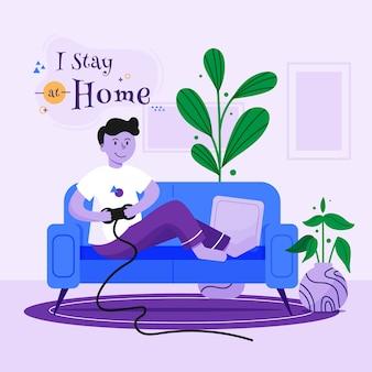 Permanecer en casa ilustración del concepto