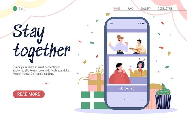 Permanecer juntos concepto de dibujos animados de fiesta virtual en línea