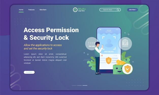 Permiso de acceso y desbloqueo de seguridad en la aplicación de billetera electrónica en la plantilla de página de destino
