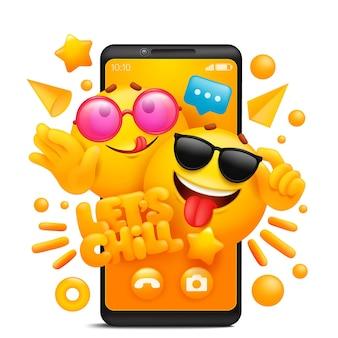 Permite enfriar la plantilla de aplicación de teléfono inteligente del concepto de pegatina con personajes de emoji de dibujos animados amarillos con gafas de sol.