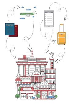 Permite viajar ilustración en estilo lineal