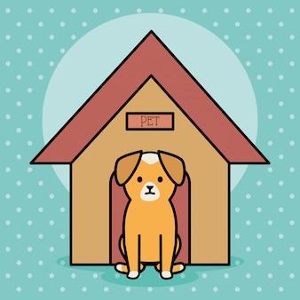 Perrito adorable con casa de madera.
