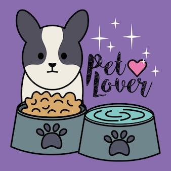 Perrito adorable con platos comida y agua.