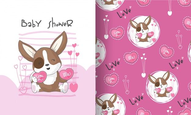Perrito lindo encantador ilustración de patrones sin fisuras para niños
