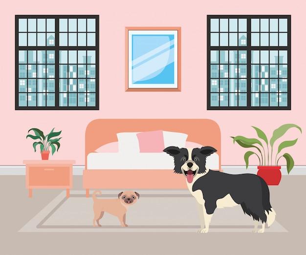 Perritos lindos en el dormitorio