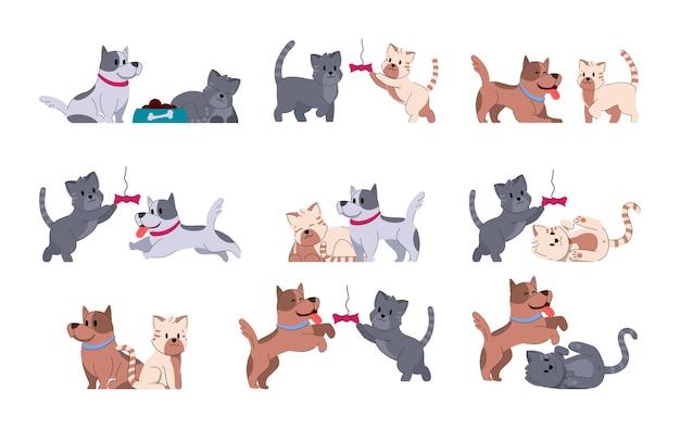 Perro adorable animal. conjunto de pequeños amigos lindo cachorro. adorable animal gato. conjunto de pequeños amigos lindo gatito.