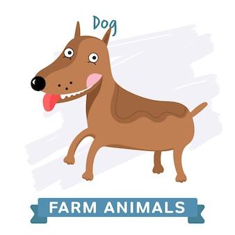 Perro aislado, animal de granja