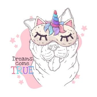 Perro akita dibujado a mano con antifaz para dormir