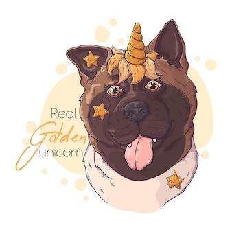 Perro akita dibujado a mano con cuerno de unicornio