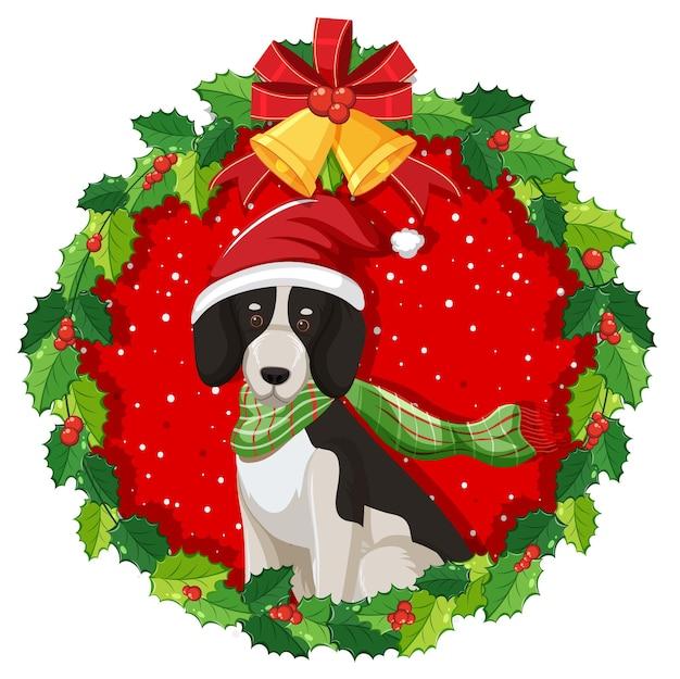 Perro beagle de dibujos animados en corona de navidad aislado