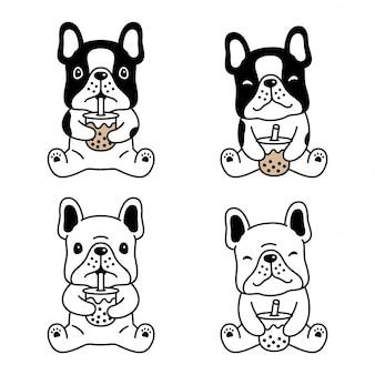 Perro bulldog francés boba leche té cartoon
