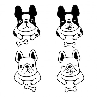 Perro bulldog francés cartoon character