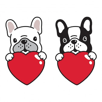 Perro bulldog francés corazón san valentín