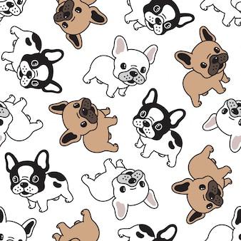 Perro bulldog francés de dibujos animados de patrones sin fisuras