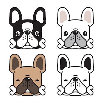 Perro bulldog francés hueso cartoon