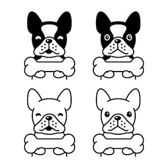 Perro bulldog francés hueso ilustración de dibujos animados