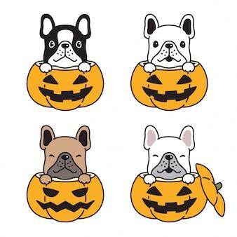 Perro bulldog francés icono calabaza halloween mascota dibujos animados