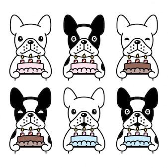 Perro bulldog francés icono pastel de cumpleaños mascota dibujos animados