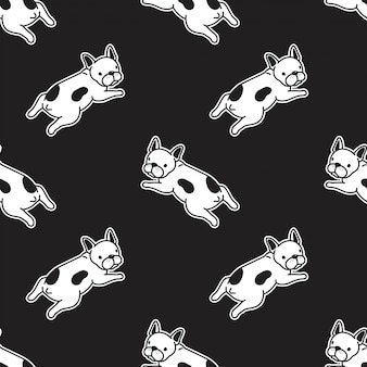 Perro bulldog francés ilustración de patrones sin fisuras