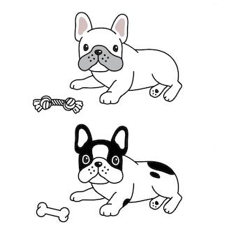 Perro bulldog francés juguete hueso