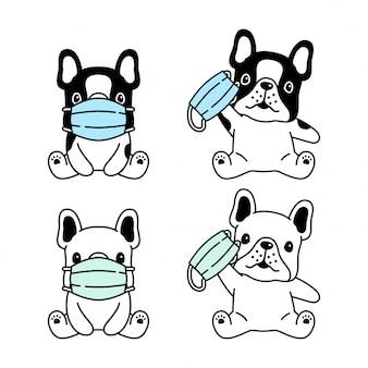 Perro bulldog francés mascarilla coronavirus covid-19 dibujos animados