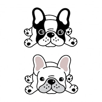 Perro bulldog francés mascota de dibujos animados
