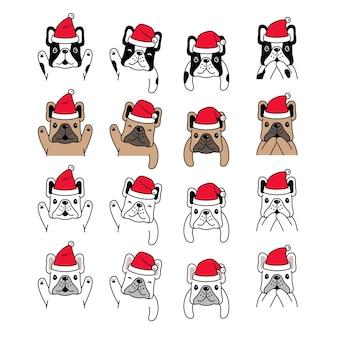 Perro bulldog francés navidad santa claus dibujos animados