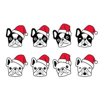 Perro bulldog francés navidad santa claus personaje de dibujos animados