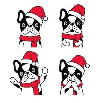 Perro bulldog francés navidad santa claus sombrero bufanda dibujos animados