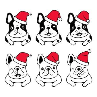 Perro bulldog francés navidad santa claus sombrero