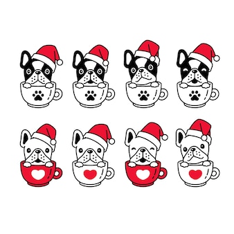 Perro bulldog francés navidad santa claus taza de café