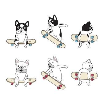 Perro, bulldog francés, patineta, caricatura