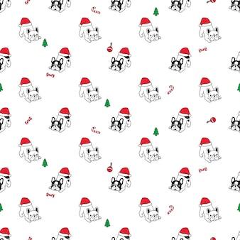 Perro bulldog francés de patrones sin fisuras navidad santa claus sombrero
