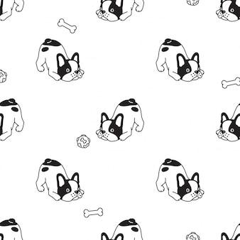 Perro bulldog francés de patrones sin fisuras