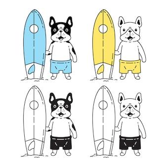 Perro, bulldog francés, tabla de surf, icono, caricatura