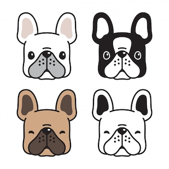 Perro bulldog francés vector cabeza dibujos animados