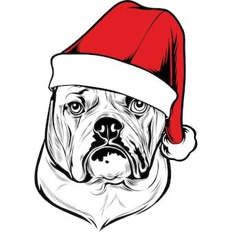Perro bulldog inglés con gorro de papá noel para navidad