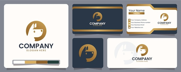 Perro, cachorro, silueta, diseño de logotipo y tarjeta de visita