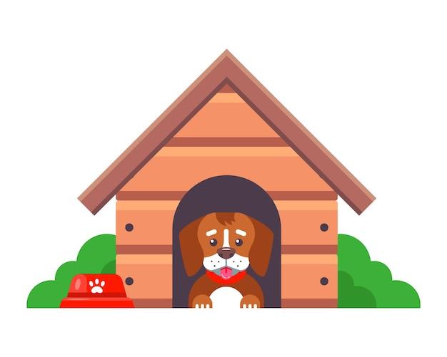 Un perro en una caseta guarda una granja en las afueras de la ciudad. ilustración de personaje plano