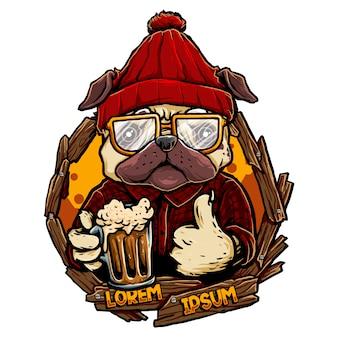 Perro cerveza Vector Premium