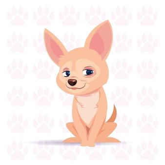 Perro chihuahua dibujos animados feliz sentado sobre huellas de fondo linda mascota