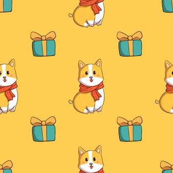 Perro corgi y caja de regalo de patrones sin fisuras con estilo doodle sobre fondo amarillo