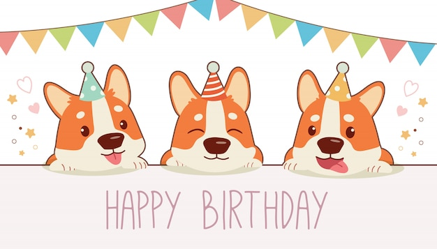 Perro corgi con fiesta de feliz cumpleaños. ilustración