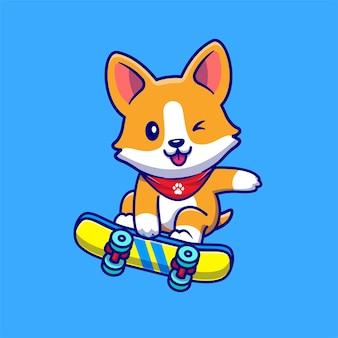 Perro corgi lindo que juega el ejemplo del icono del vector de la historieta del monopatín. concepto de icono de deporte animal aislado vector premium. estilo de dibujos animados plana