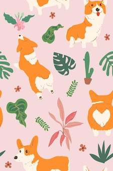 Perro corgi y patrón de hoja tropical