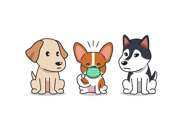 Perro corgi de personaje de dibujos animados con máscara protectora